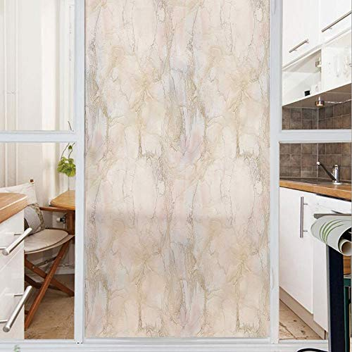 Decorative Window Film,No Glue Frosted Privacy Film,Stained Glass Door Film,Pink and Peach Marble Background with Crack Patterns Architecture and Building Material Decorative,for Home & Office,23.6In.