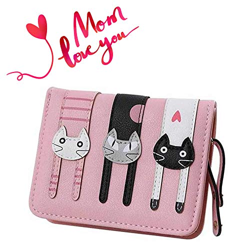 - Prime Day&Deals Sale Offers 2019-Valentoria Birthday Gifts for Women's Mini Faux Leather Bifold 3 Cat Design Clutch Wallet(Pink)