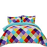 Top Finel Queen Duvet Cover Set 2 Pillowcase Covers SuperSoft Durable Breathable Brushed Microfiber,3Pcs,Colorful Square&Turquoise