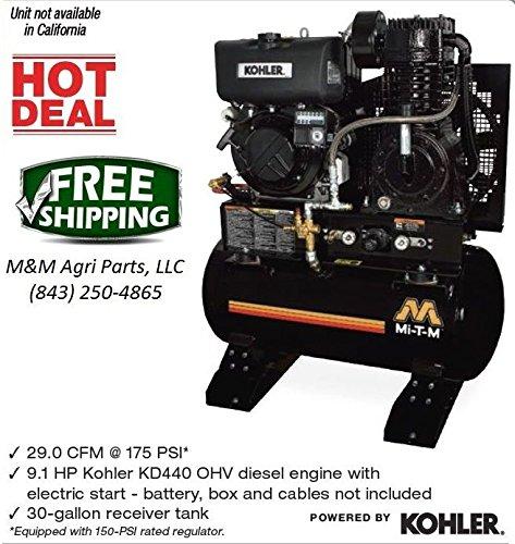 New Diesel Air Compressor OHV Diesel Engine w/ electric start & 30 Gallon Tank
