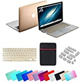 Se7enline Macbook Pro Case Cover Colorful Rubberized Frosted Soft Touch Hard Shell Case Cover for Macbook Pro 13.3 inch with Retina Display Model A1502/A1425 (not fit for Model A1278),with Soft Sleeve Bag and Silicon Keyboard Protector and Clear LCD Screen Protector and 12pcs Dust plug,Gold
