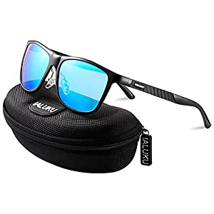 IALUKU Retro Driving Wayfarer Polarized Sunglasses for Men Metal Frame UV Protection