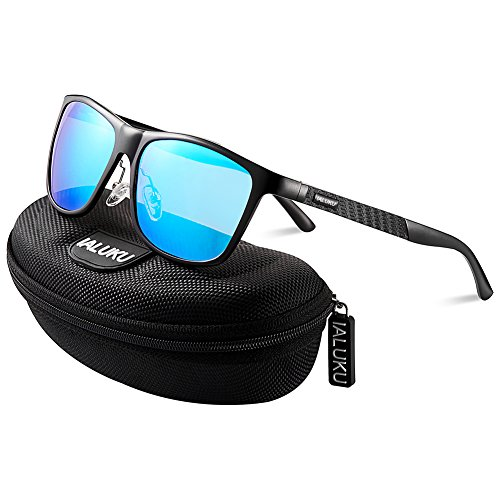 IALUKU Retro Driving Wayfarer Polarized Sunglasses for Men Metal Frame UV Protection (Black&Blue, 61)