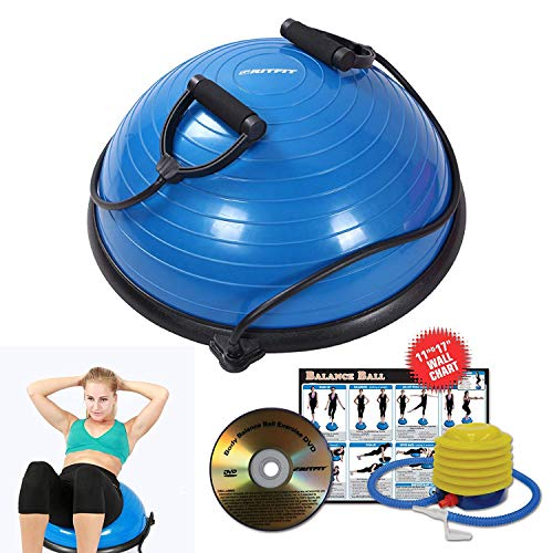 (RitFit Balance Ball Trainer with Resistance Bands, Free Foot Pump, Exercise Wall Chart, Workout DVD, Measuring Tape, Blue )