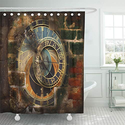 Emvency Shower Curtain Brown Architecture Old Astronomical Clock in Brick Wall Red Blocks Shower Curtains Sets with Hooks 60 x 72 Inches Waterproof Polyester Fabric