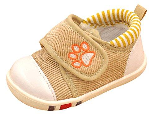 FEOYA - Chaussures Premiers pas Mixte Bébé avec Velcro en Toile - Bébé Filles Garçons Chaussures Souples pour Printemps Automne - Kaki - 5 Tailles