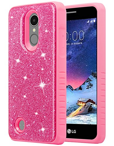 LG Aristo 3/LG Tribute Empire/LG Tribute Dynasty/LG Aristo 2/Rebel 3 LTE/Zone 4/Risio 3/Fortune 2/Rebel 2/K8+ Plus Phone Case for Girls Women, Glitter Bling Sparkly Dual Layer Cover - Pink