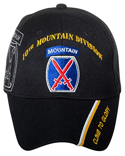 e4a77356 Officially Licensed US Army Infantry Division Black Embroidered Baseball Cap  - Multiple Divisions Available! (10th Mountain)