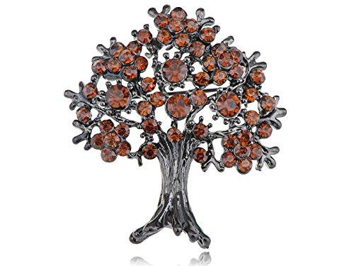 Alilang Gunmetal Tone Topaz Colored Rhinestones Apple Fruit Floral Tree Brooch Pin (Ladies Top Gun Costume)