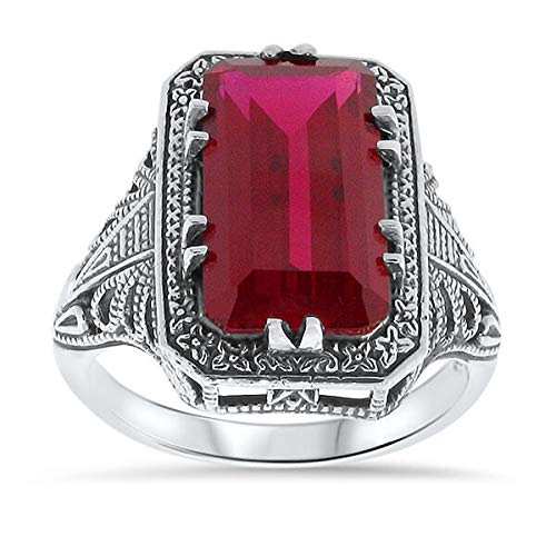 7 Ct LAB Ruby Antique Art Deco Style .925 Sterling Silver Ring Size 5.75 KN-3297 from VELEZO