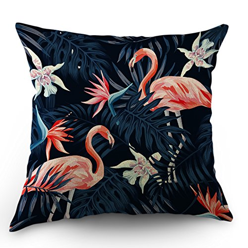 (Moslion Flamingo Pillows Decorative Throw Pillow Cover Cute Flamingo in Flowers Palm Tree Pillow Case 18 x 18 Inch Cotton Linen Square Cushion Cover Happy New Year for Sofa Bed Pink Black)