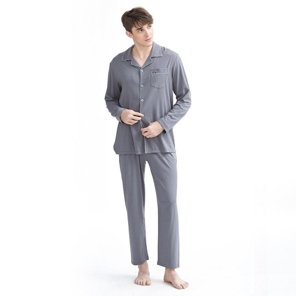 Otoño pijamas de los hombres de/Manga botón moda algodón juego de pijama/ Chaqueta de punto jersey simple casual ropa-Kit: Amazon.es: Ropa y accesorios