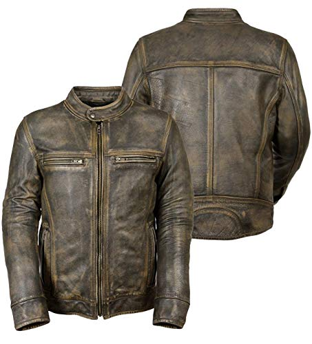 (Mens Vintage Cafe Racer Brown Jacket Triple Stitch Distressed Motorcycle Wax Leather Apparel)