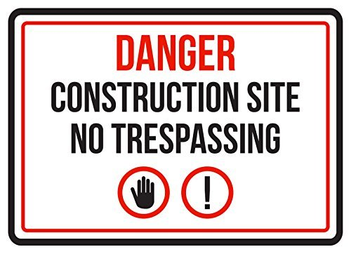HarrodxBOX Danger Construction Site No Trespassing Business Commercial Warning Decorative Metal Signs for Women Wall Post Tin Sign Present from HarrodxBOX