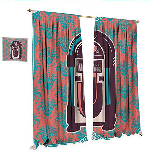 Jukebox Waterproof Window Curtain Floral Paisley Inspired Backdrop with Music Box Retro Party Print Waterproof Window Curtain W120 x L96 Turquoise Coral Dried Rose.jpg