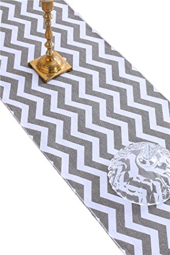 Wishprom Chevron Design Cotton Table Runner for Morden Greenery Garden Wedding Party Table Setting Decorations 12 x 108 inch (Gray) ()