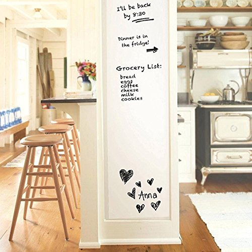 "Iwolkon Self-Adhesive Whiteboard Wall Decal Sticker, 78.7"" × 17.7"" Premium Extra Large Strong and Durable Dry Erase Wall Paper Message Board for Kids, Office, School & Home With 1PCS Marker Pen"