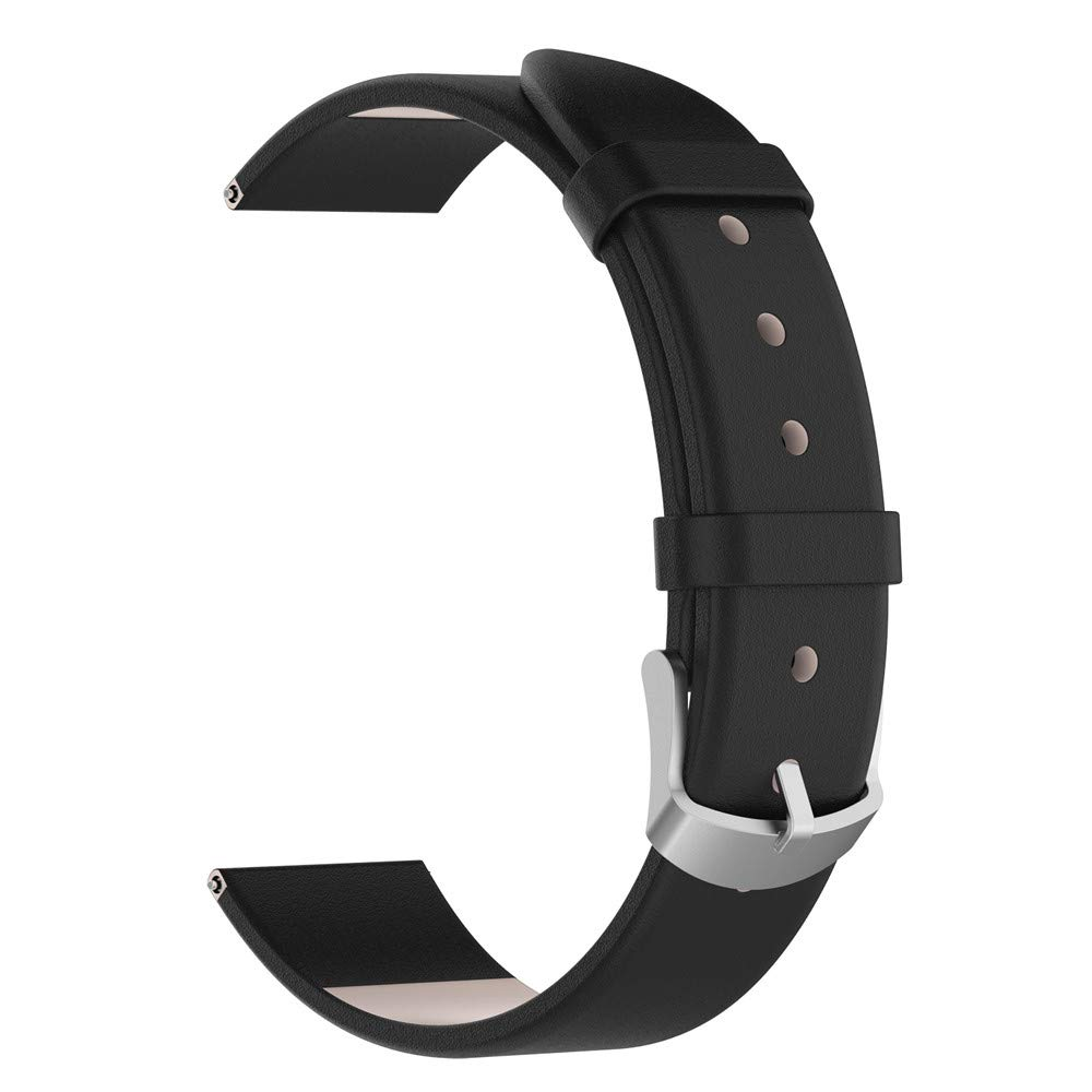 iumei Samsung Galaxy Smart Watch Band, Replacement Elegant Leather Wristband Strap Bracelet Bands for Samsung Galaxy Watch (42mm) (Black)