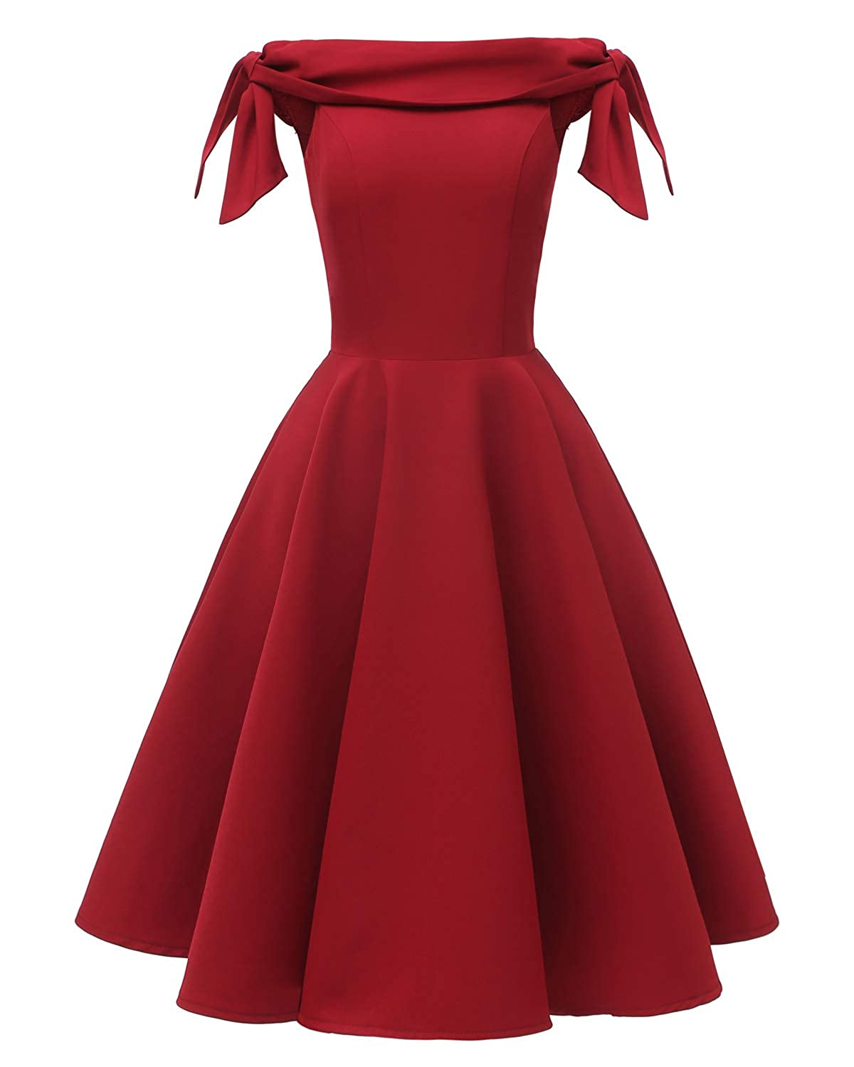 1960s Cocktail, Party, Prom, Evening Dresses Womens Off The Shoulder Vintage 1950s Bowknot Sleeve Cocktail Party Swing Dress Retro Rockabilly Evening Wedding Prom Dress $42.99 AT vintagedancer.com
