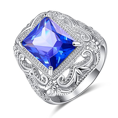Psiroy 925 Sterling Silver Created Tanzanite Filled Art Deco Floral Statement Ring for Women