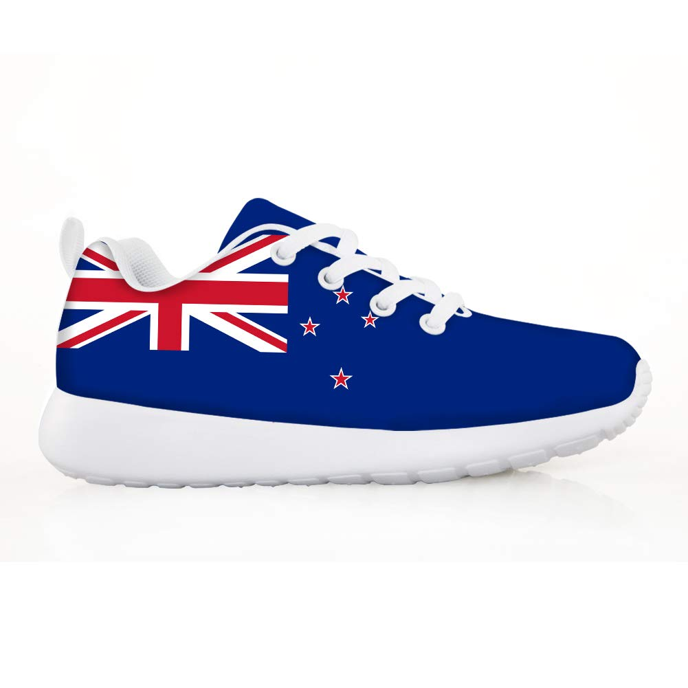Owaheson Boys Girls Casual Lace-up Sneakers Running Shoes New Zealand Flag