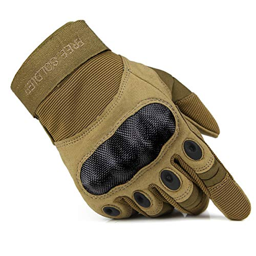 FREE SOLDIER Tactical Gloves for Men Military Hard Knuckle Outdoor Cycling Gloves Armor Gloves(Sand Small)