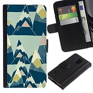 Pintura Arte Triángulos Nieve- la tarjeta de Crédito Slots PU Funda de cuero Monedero caso cubierta de piel Para Samsung Galaxy S5 V SM-G900