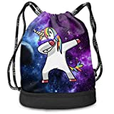 QUCHEN Dabbing Unicorn in The Galaxy Drawstring Backpack Bags Shoulder Bags Gym Bag Storage Bag