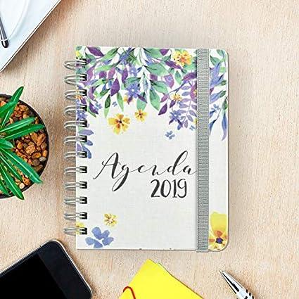 Agenda De Bolsillo 2019 - Takenote Flores - Encuadernación Wire-o - Semana Vista - Tamaño 12x16