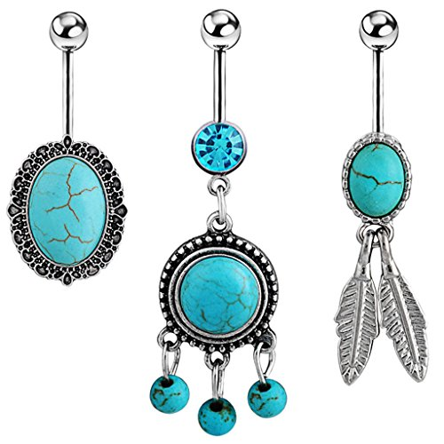 Oasis Plus 3PCS 14G 7/16 Oval Round Turquoise Dangle Belly Button Ring Navel Barbell Body Piercing Jewelry