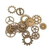 20/17pcs Antique Silver/Bronze Vintage Steampunk Gear Clock Parts Pendant Charms Antique Bronze 17pcs