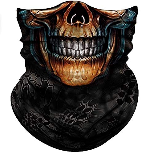 Obacle Motorcycle Face Mask Sun UV Dust Wind Protection Tube Mask Seamless Bandana Skeleton Face Mask for Men Women Bike Riding Cycling Biker Fishing Outdoor Festival (Gold Face Nose Ring Skull) -