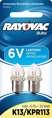 (Rayovac K13-2 Krypton 6V Lantern Bulbs 2pk KPR113 3.6 Watt)