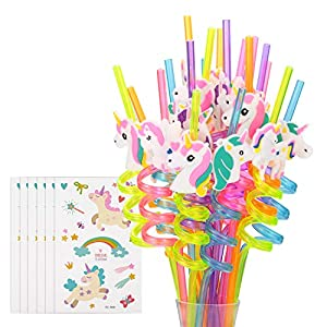 Reusable Unicorn Drinking Plastic Straws + Unicorn Temporary Tattoos for Girls | Unicorn Birthday Party Supplies – Rainbow Unicorn Party Favors Decorations – Set of 30 with Cleaning Brush