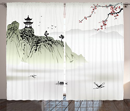 Asian Chinese Painting - Ambesonne Asian Decor Collection, Chinese Landscape Painting with the Temple on the Cliff and Flying Gulls over the Clouds, Living Room Bedroom Curtain 2 Panels Set, 108 X 84 Inches, White Green