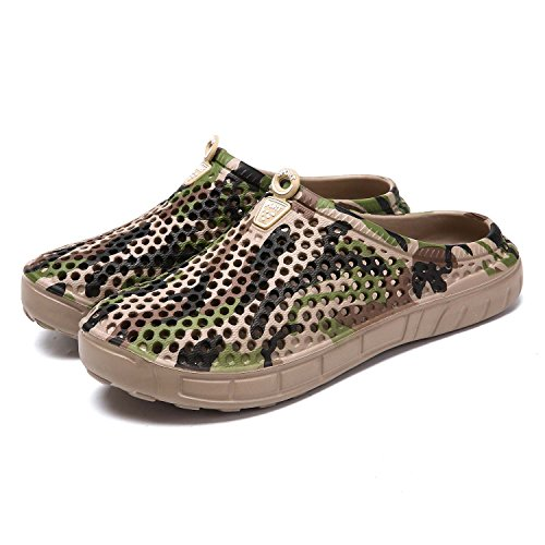 Brown Camouflage Shoes - HMAIBO Garden Clogs Shoes Women's Men's Lightweight Breathable Mesh Sandals Quick Drying Beach Pool Water Shoes Anti-Slip Slippers Non-Slip Walking Footwear Camouflage Brown 40