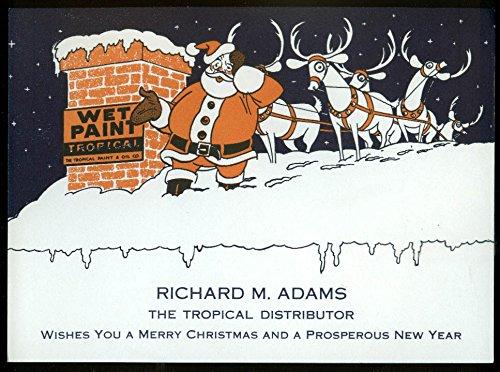 Richard M Adams Tropical Paint & Oil Christmas Card ca 1950s Santa Claus