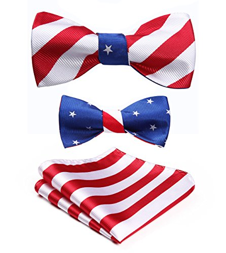 HISDERN Men's American Flag Pattern Double Sided Jacquard Self Bow Tie Set (Meaning Of American Flag With Blue Stripe)