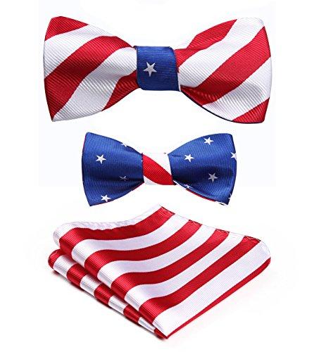 HISDERN Men's American Flag Pattern Double Sided Jacquard Self Bow Tie Set