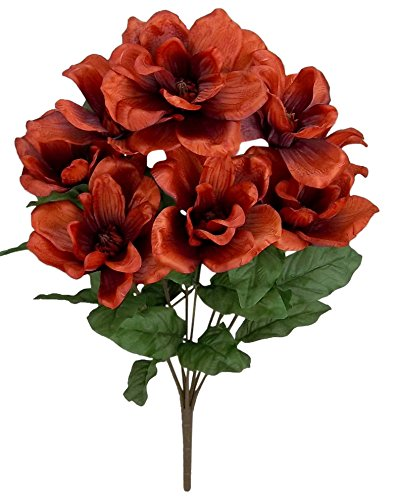 Admired By Nature 9 Stems Artificial Magnolia Flowers Bush for Home, Wedding, Restaurant and Office Decoration Arrangement, Tuscany ()