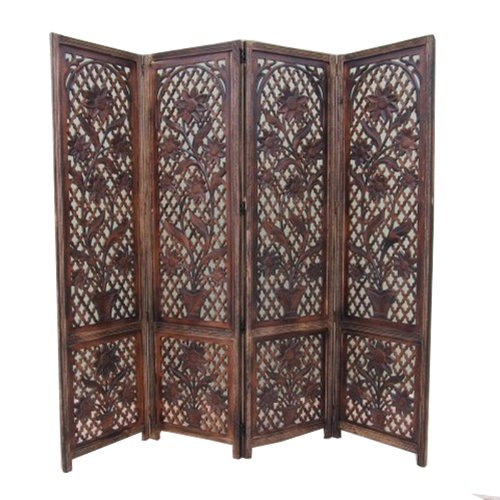 Heavy Carved Wooden Privacy Screen W/ Crane And Latticework Design - Six (Carved Wooden Screen)
