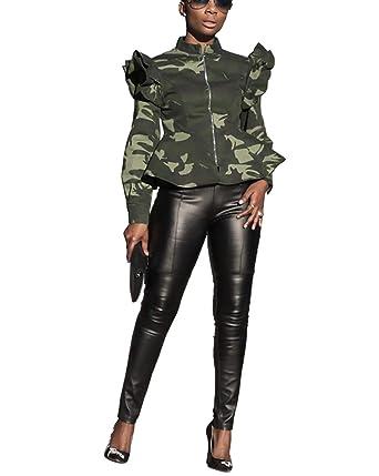 9e52dc4f1 Mycherish Womens Sexy Military Jacket High Neck Ruffle Long Sleeve Front  Zip Camo Jackets Camouflage Coat