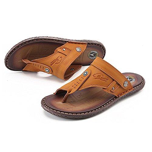 Sommer Rutschfeste Flip Flops Mode Doppel-Sandalen im Freien Einzel Männer Sandalen, Gelb, UK = 6.5, EU = 40