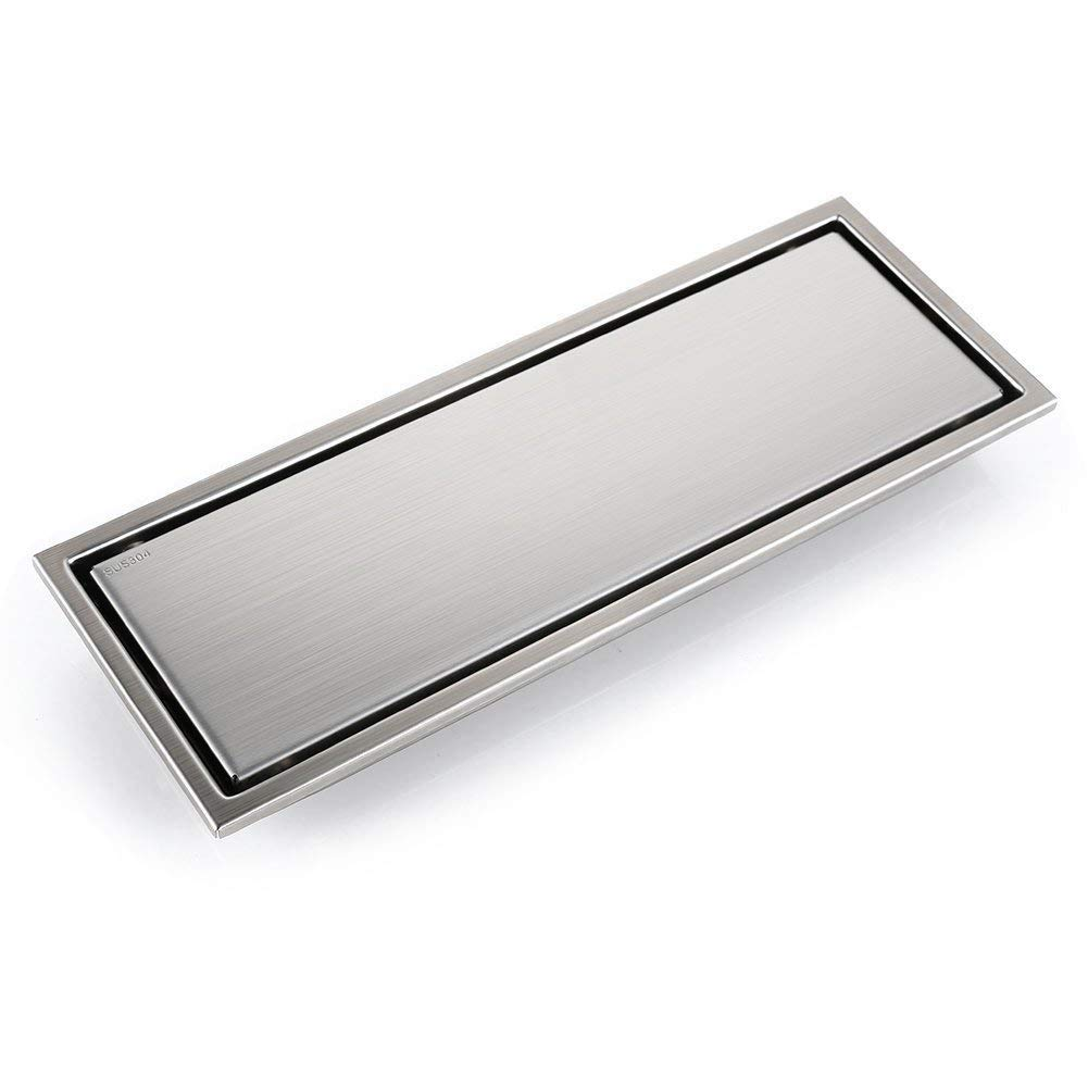 SUS304 Stainless Steel Linear Shower Floor Drain with Tile Insert Grate Removable Cover 11.8 inch Long, Brushed Finish