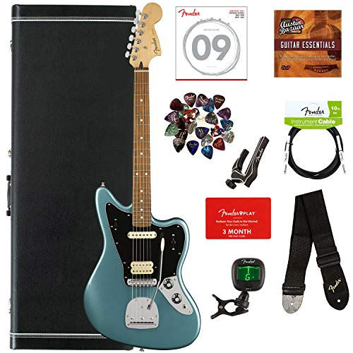 Fender Player Jaguar, Pau Ferro - Tidepool Bundle with Hard Case, Cable, Tuner, Strap, Strings, Picks, Capo, Fender Play Online Lessons, and Austin Bazaar Instructional DVD ()