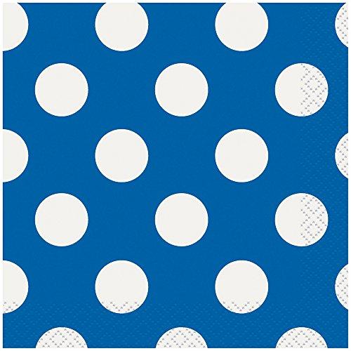 Royal Blue Polka Dot Beverage Napkins, 40ct