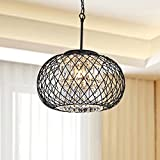 Cheap Yanira Antique Black Ironwork Crystal Pendant Chandelier