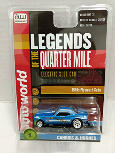 Scale Electric Slot Car - Auto World SC328 Legends of the Quarter Mile Candies & Hughes 1970s Plymouth Cuda Funny Car HO Scale Electric Slot Car
