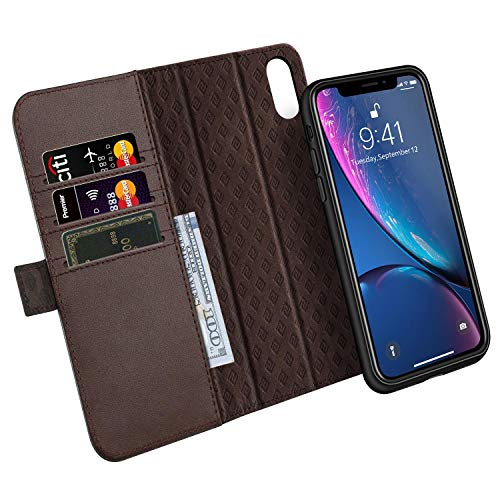 (ZOVER Detachable Wallet Case Compatible with iPhone XR with RFID Blocking Kickstand Feature Genuine Leather Card Bison Fone Slots Magnetic Clasps Gift Box Dark Brown)