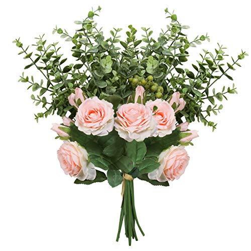 HEBE 2 Pack Artificial Rose Flowers with Greenery Eucalyptus Plant Leaf Flower Arrangement for Wedding Table Centerpiece Home Decoration(Ins Style,Pink) -